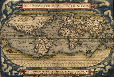 An old world map titled TYPVS ORBIS TERRARVM with a very large depiction of Antarctica.