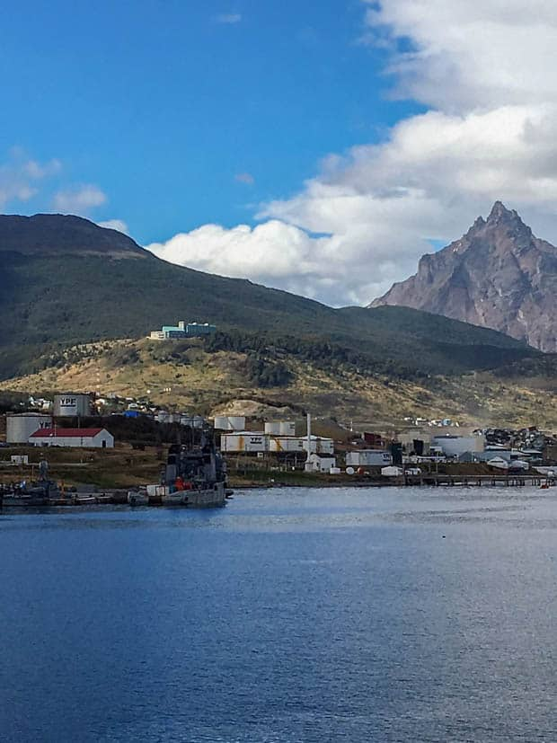 View from the balcony of a small ship in port before disembarking Ushuaia Argentina.