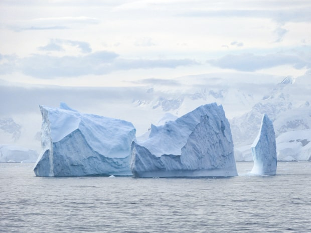 Icebergs seen floating in Antarctica from a small ship cruise.