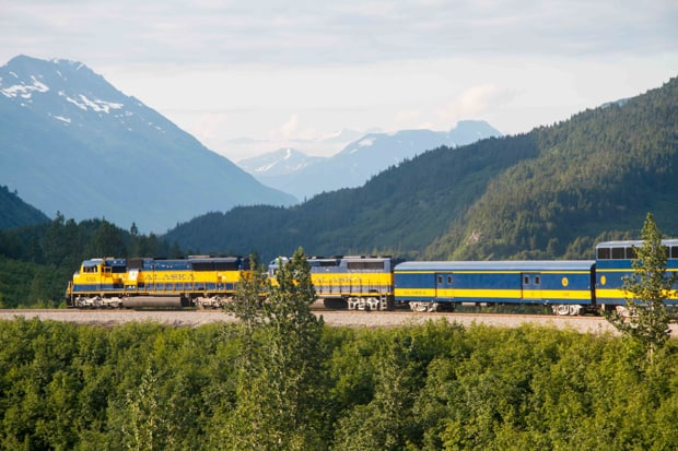 Alaska Railroad train stopped on the tracks.