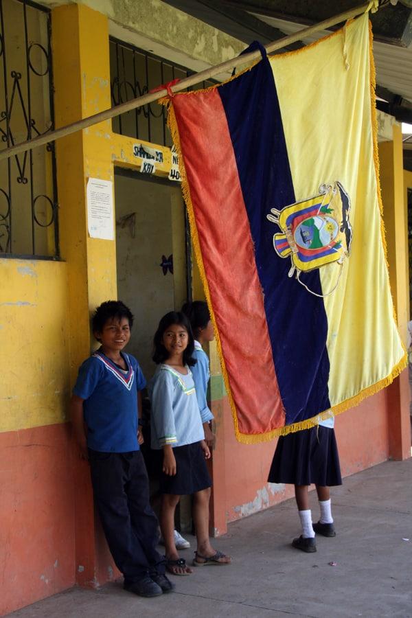 A few children standing outside the Sani Village School.