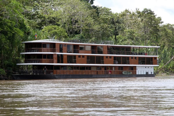Anakonda river boat docked along the Ecuadorian Amazon river.