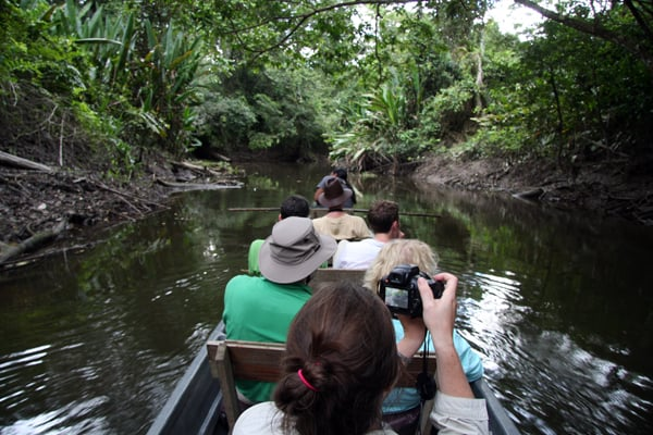 A group of people on a canoe ride on the Ecuadorian Amazon river.