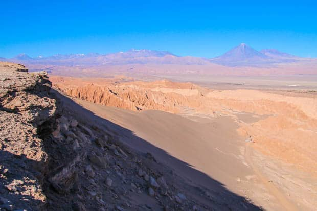 A viewpoint overlooking deserts and volcanos in Chile.