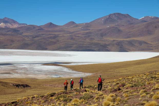 A group of hikers walking down a hill into the salt flats of the Atacama desert with hills behind.