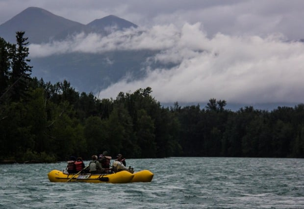 Guests from a small ship cruise in Alaska on a skiff excursion.