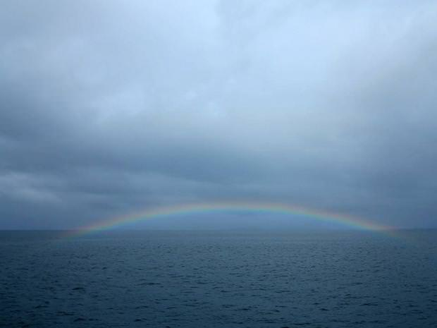 Rainbow seen from a small ship cruise in Alaska.