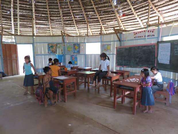 Children in a classroom in the Peruvian Amazon jungle.