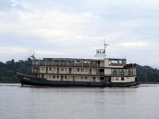 Amatista, a river boat, in the Peruvian Amazon river.