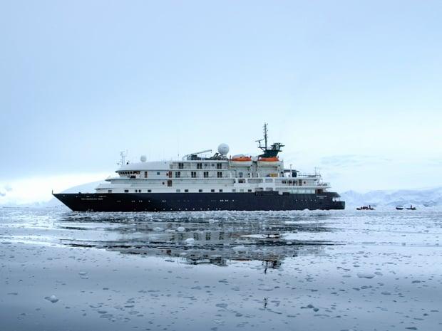 Small expedition ship hebridean Sky in Antarctica.