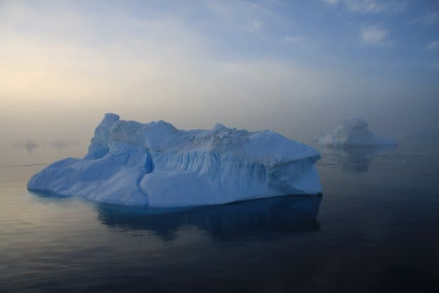 Iceberg seen from a small ship cruise while approaching Antarctica.