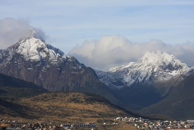 Snowy mountains of Ushuaia Argentina with the city below.