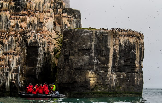 A group of travelers on a skiff in the Arctic waters, in front of a rocky cliffside