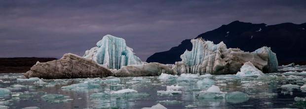 Serene nighttime landscape image of Arctic ice