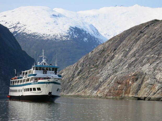 Baranof Dream small ship cruising through Alaskan fjords.