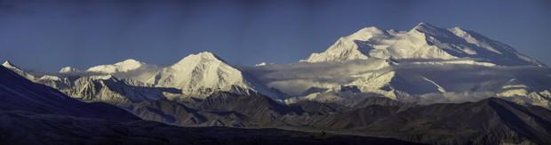 Mt. Mckinley mountain range as seen from land tour in Denali National Park in Alaska.