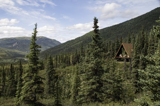 An a-frame remote wilderness Lodge amid the forest on a land tour to Denali National Park in Alaska.