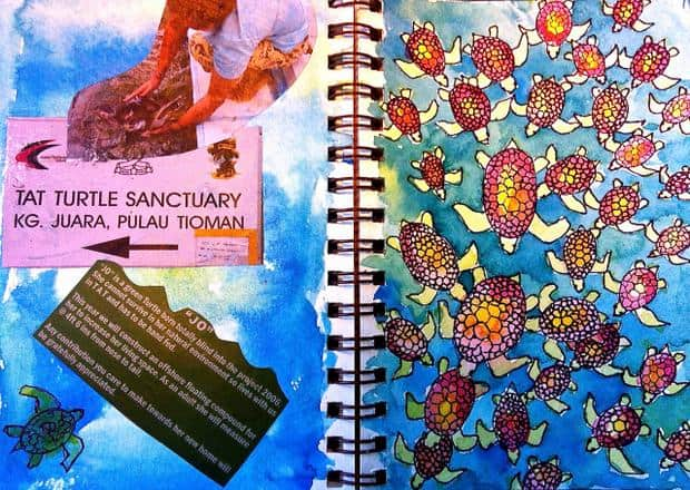 Travel journal front and back cover personalized by painting it.