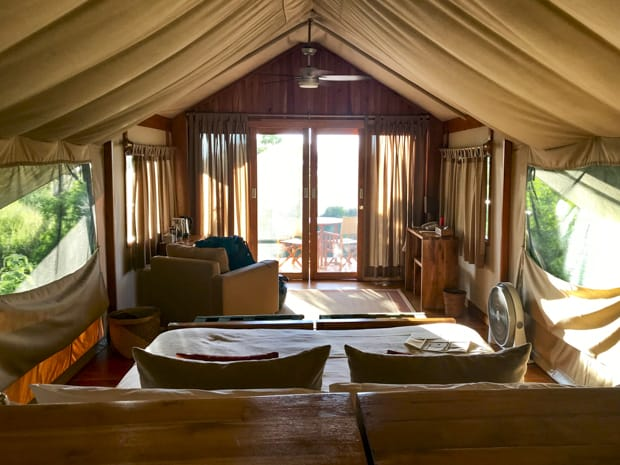 View from the inside of a safari tent camp with a couch, open air netted windows, chair and sliding glass doors on a Galapagos land tour.