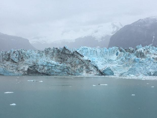 John Hopkins glacier seen from a small ship cruising in Alaska.