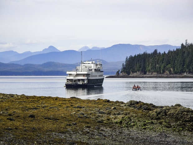 A zodiac with travelers riding back to a Alaskan small ship cruise anchored in Southeast Alaska.