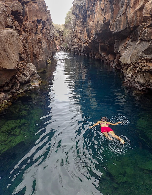 Galapagos travelers snorkeling in a shallow swimming hole with sheer rock cliffs on either side.