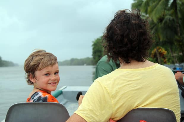 Family on a skiff excursion off their small ship cruise.