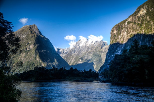 Fjords seen from a small ship cruise in New Zealand.