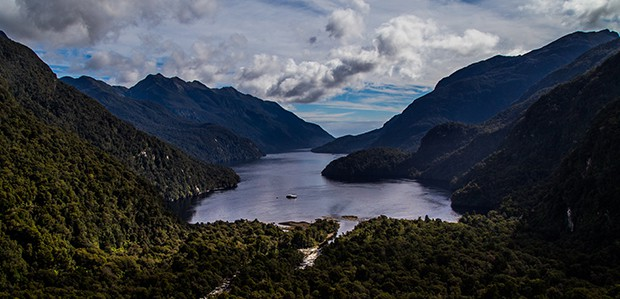 Fjords of New Zealand seen from above.