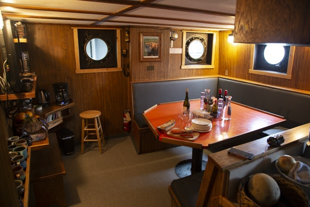 Dining area aboard Ursus small ship cruise in Alaska.