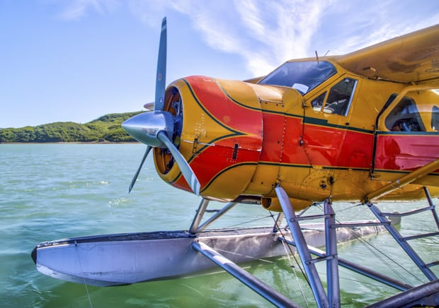 Float plane on the water in Alaska.