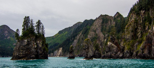 Rock formations in the water on the way to a wilderness lodge in Kenai fjords ALaska.