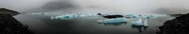 Glaciers in a misty bay of Kenai Fjords Alaska.