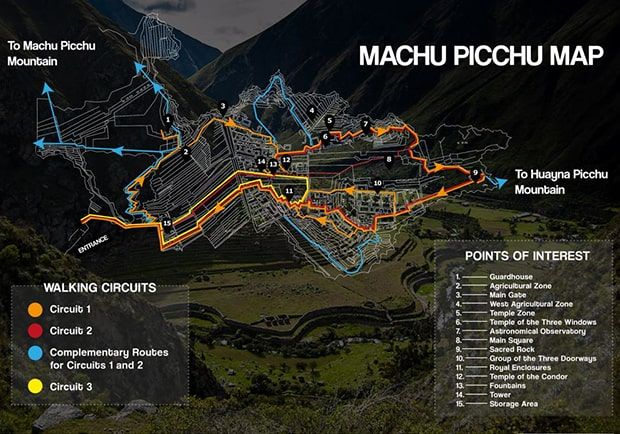 Map of Machu Picchu with 3 different walking circuit routes and points of interest