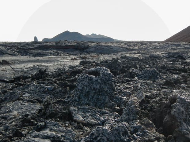 Barren volcanic rock and remnants of black lava flow on a island in the Galapagos.