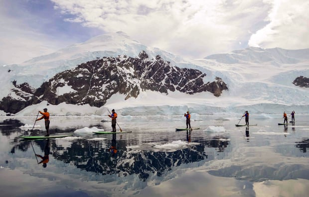 Group of guests from a small expedition ship in Antarctica stand up paddle boarding in dry suits with icebergs in the water.
