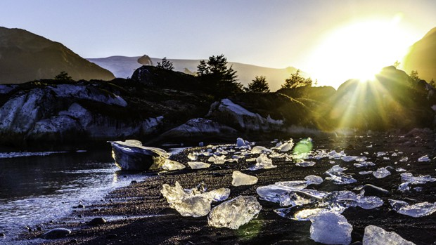 Chunks of glistening ice on a beach in Patagonia.