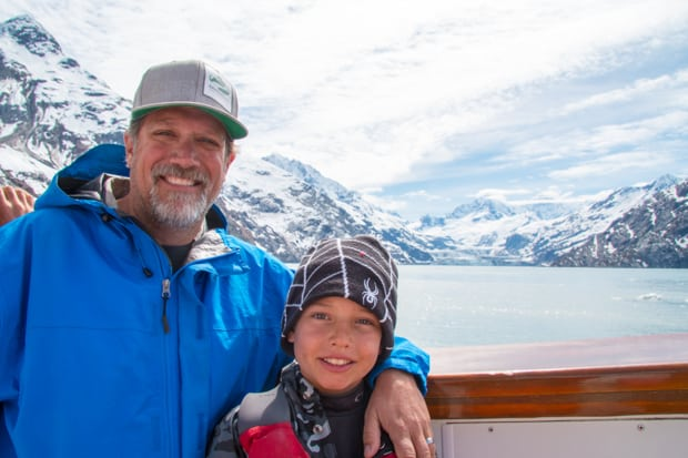 Founder of AdventureSmith Todd Smith and son aboard  Sea Wolf, a small ship cruise in Alaska.