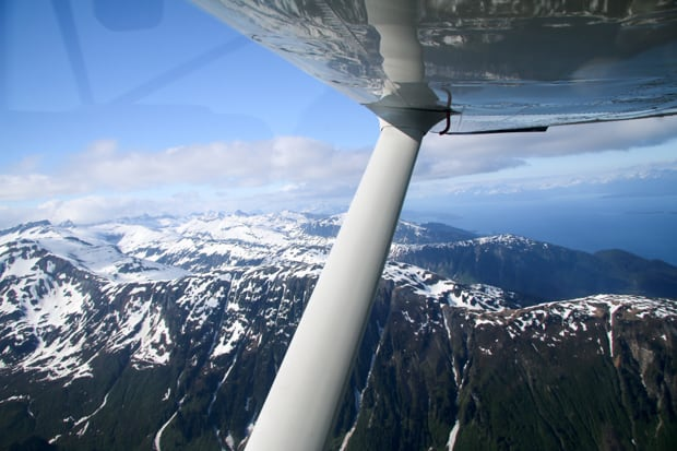 View from a seaplane above the mountains in Alaska on a tour from a small ship cruise.