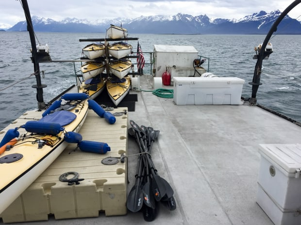 Kayaks and paddles stored aboard the small ship Sea Wolf in ALaska.