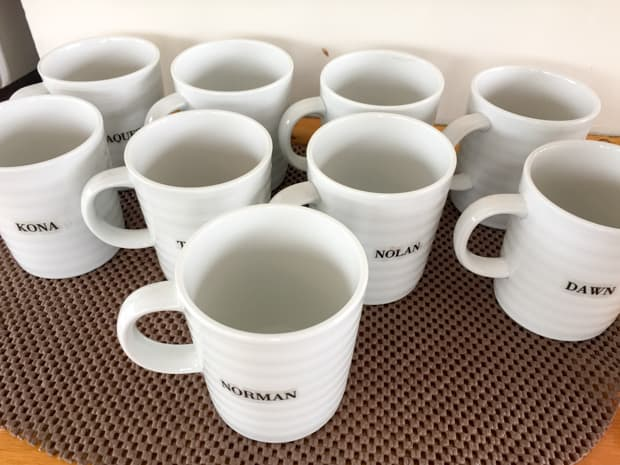 Personalized mugs for the guests aboard the small ship Sea Wolf cruise in Alaska .
