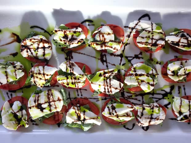 Caprese appetizer tray aboard the small ship Sea Wolf cruise in Alaska .