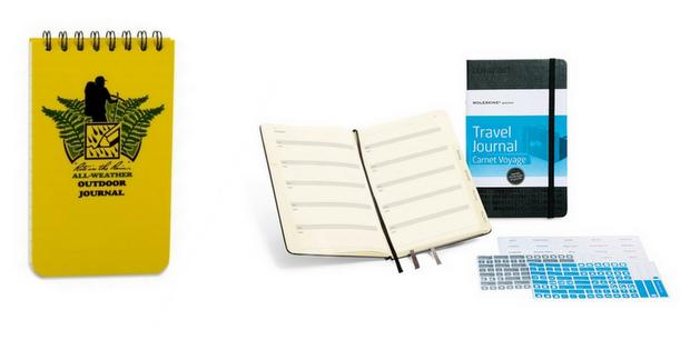 Several different travel journal styles of small notebooks.