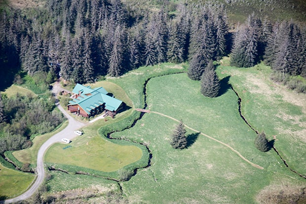 Aerial view of the wilderness lodge Bear Track Inn in Gustavus, Alaska.
