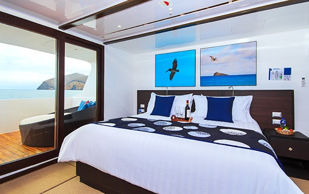 Luxury stateroom aboard a small ship cruise in the Galapagos.