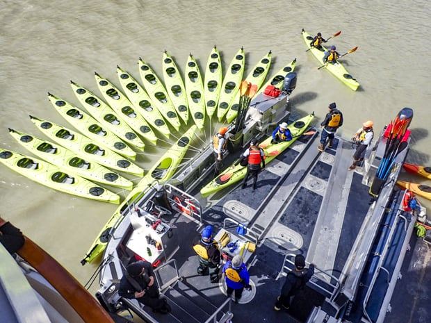 Cluster of Kayaks empty and in the water ready for guests to get in straight from their small ship cruise in Alaska.