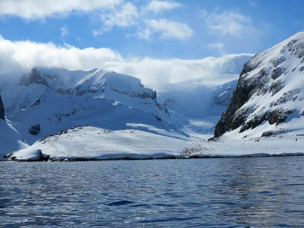 Small ship cruise in Antarctica approaching the penguins at Cuverville.