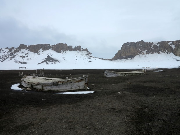 Ruins of a ship wreck by Deception Island, seen from a small ship cruise to Antarctica.
