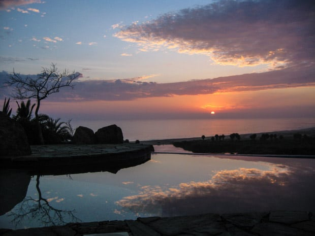 A sunset as seen from the infinity pool at Los Colibris Todos Santos, Baja.