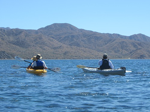 small ship cruise passengers kayak in open water on a sunny day in baja california